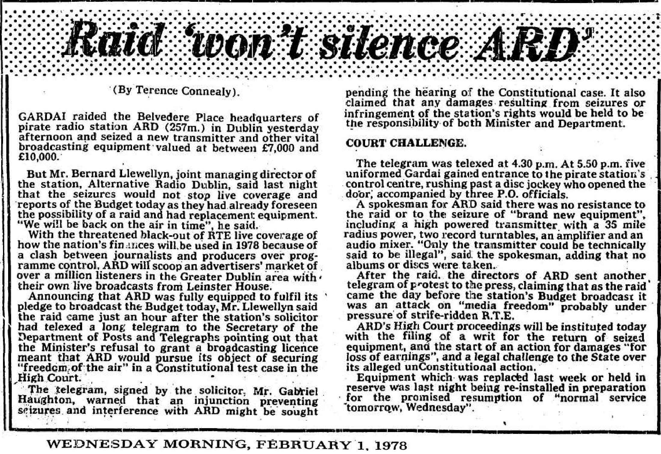Raid 'won't silence ARD' was a newspaper headline from The Cork Examiner dated February 1st 1978