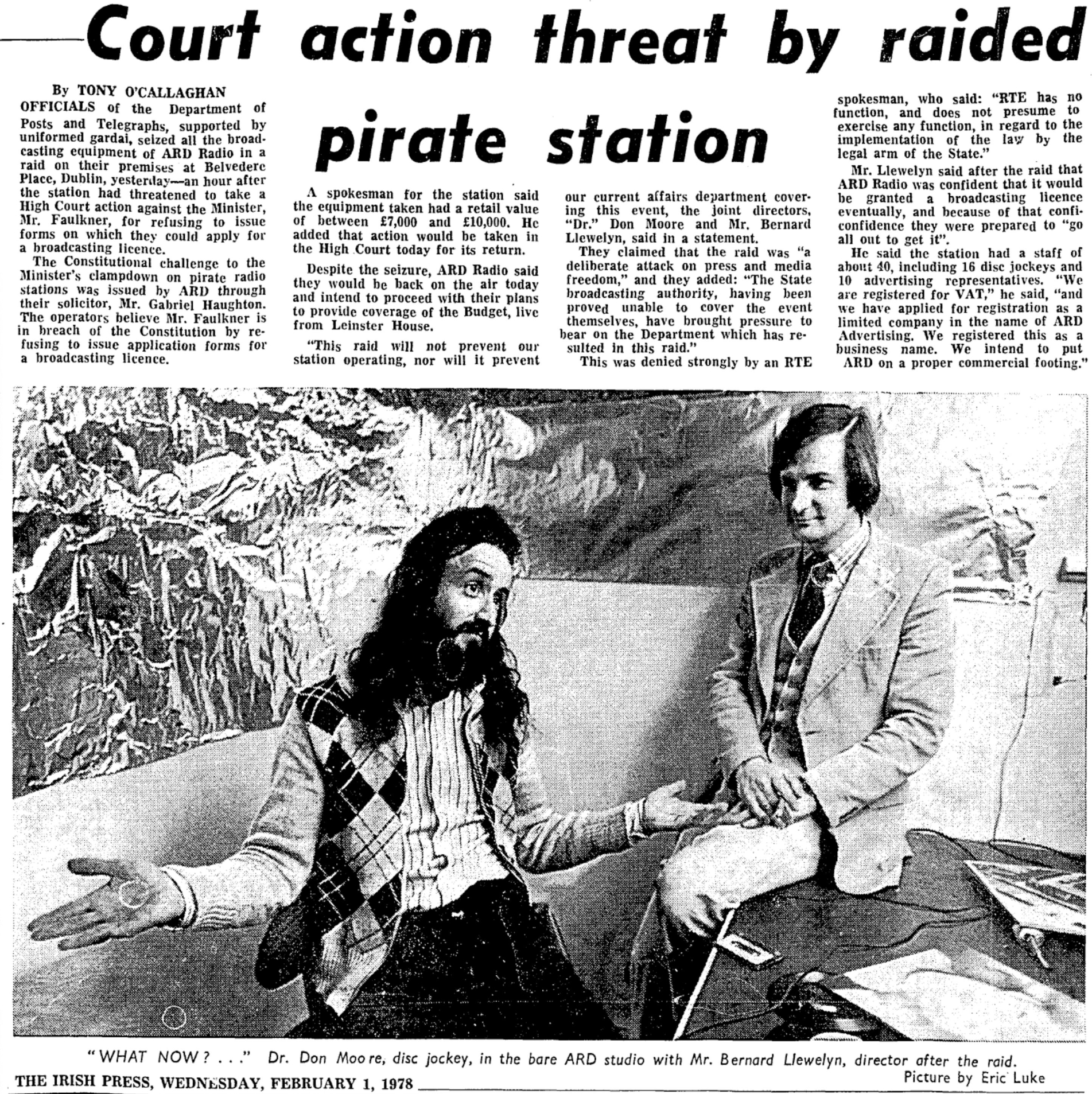Court action threat by raided pirate station was a newspaper headline from The Irish Press dated February 1st 1978