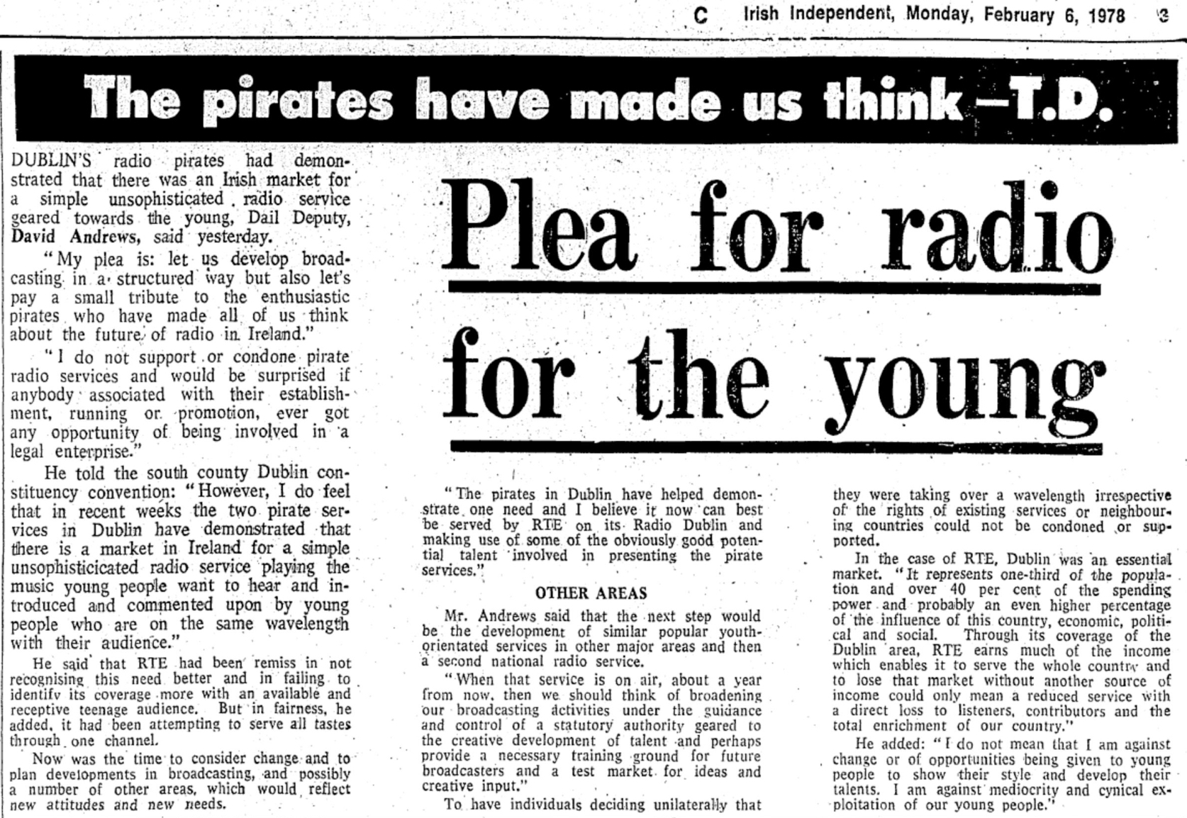 Plea for radio for the young was a newspaper headline from The Irish Independent dated February 6th 1978