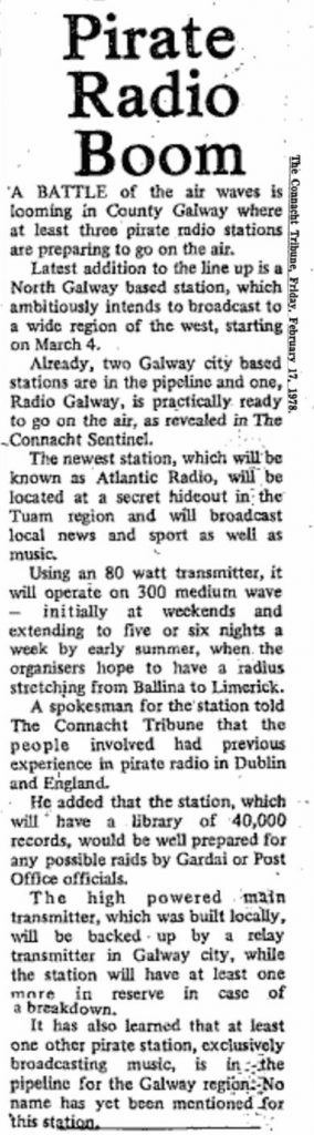 Pirate radio boom was a newspaper headline from The Connacht Tribune dated February 17th 1978
