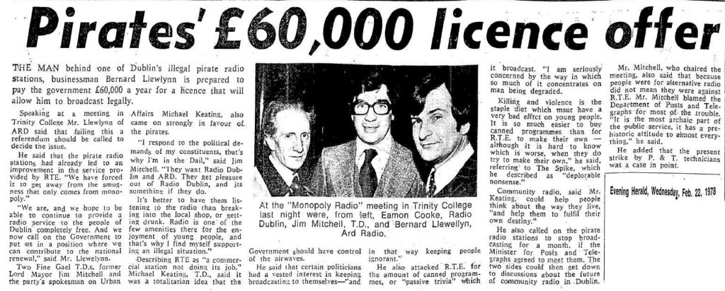 Pirates' £60,000 licence offer was a newspaper headline from The Evening Herald dated February 22nd 1978