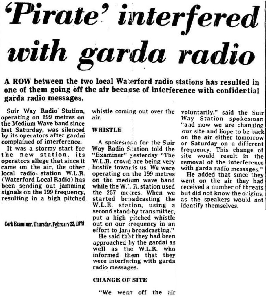 'Pirate' interfered with Garda radio was a headline in The Cork Examiner dated February 22nd 1979