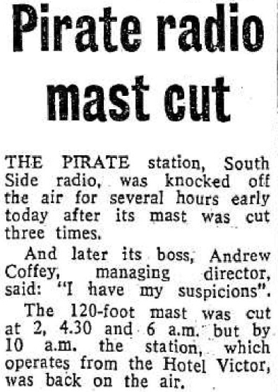 Pirate radio mast cut was a newspaper headline from the Evening Herald dated February 21st 1981