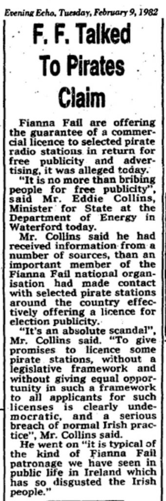 FF talked to pirates claim was a newspaper headline from The Evening Echo dated February 9th 1982