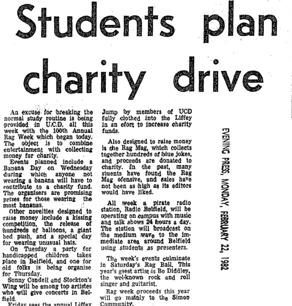 Students plan charity drive was a newspaper headline from The Evening Press dated February 22nd 1982