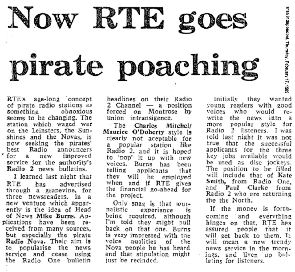 Now RTÉ goes pirate poaching was a newspaper headline from the Irish Independent dated February 17th 1983