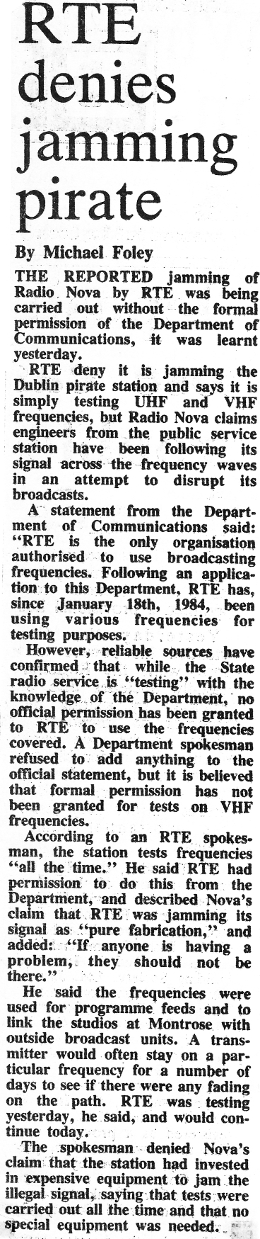 RTÉ denies jamming pirate was a newspaper headline from The Irish Times dated February 4th 1984