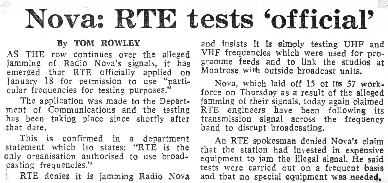 Nova - RTÉ tests official was a newspaper headline from The Sunday Independent dated February 5th 1984