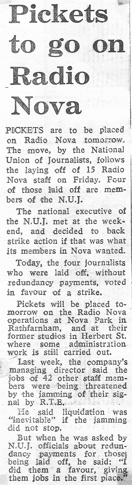 Pickets to go on Radio Nova was a newspaper headline from The Evening Herald dated February 6th 1984