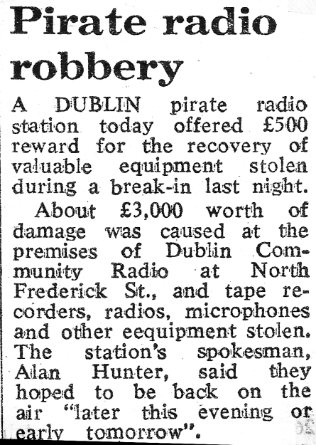 Pirate radio robbery was a newspaper headline from The Evening Herald dated February 7th 1984