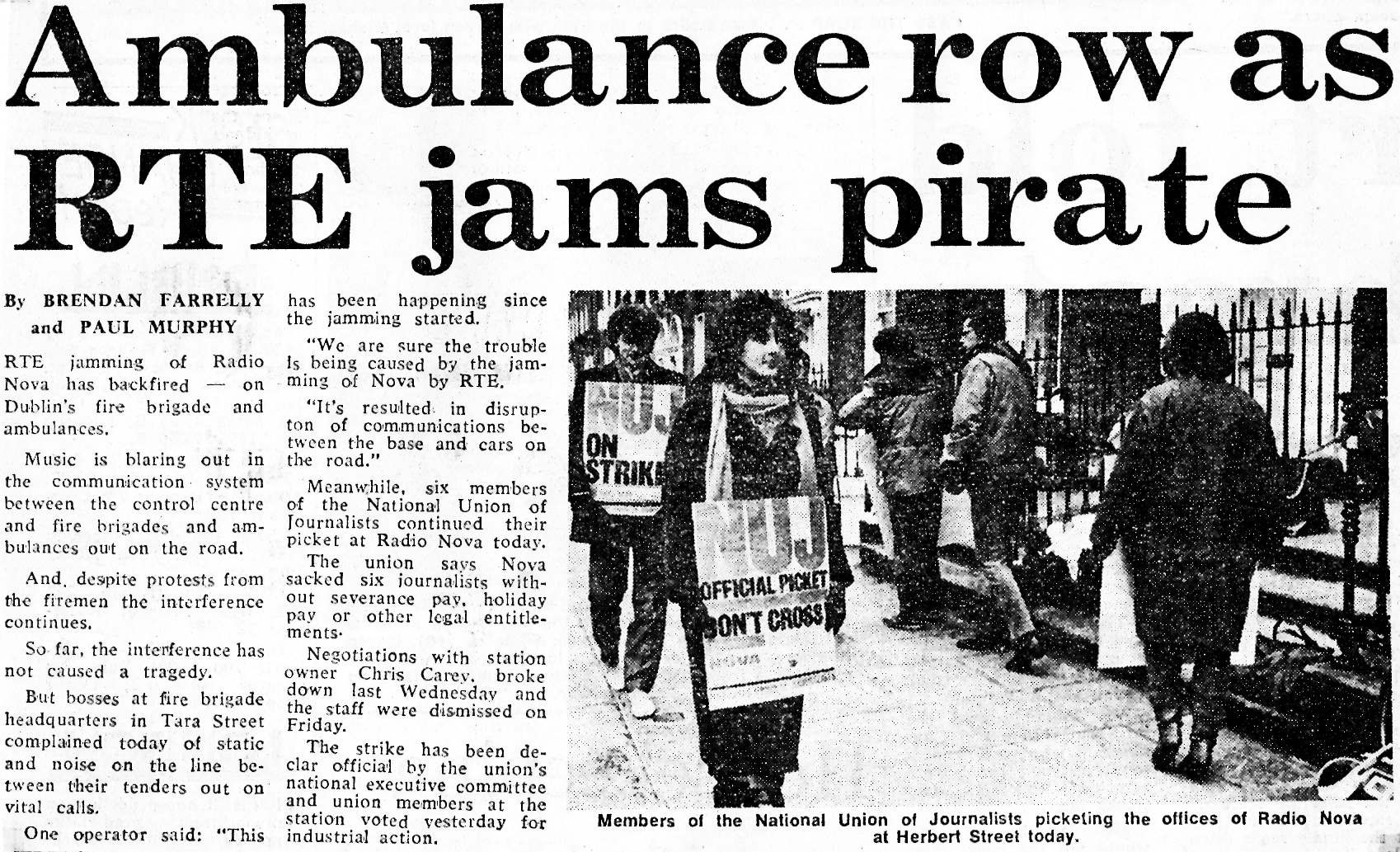 Ambulance row as RTÉ jams pirate was a newspaper headline from The Evening Herald dated February 7th 1984