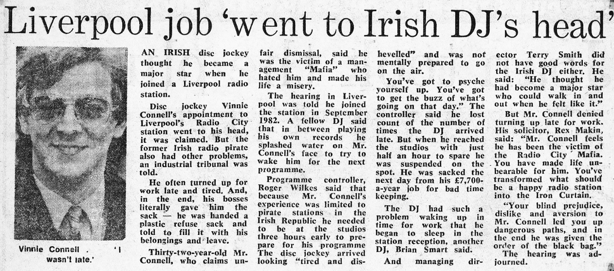Liverpool job 'went to Irish DJ's head' was a newspaper headline from The Evening Herald dated February 7th 1984