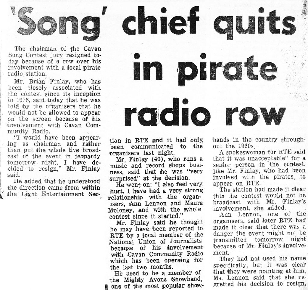 'Song' chief quits in pirate radio row was a newspaper headline from The Evening Press dated February 10th 1984
