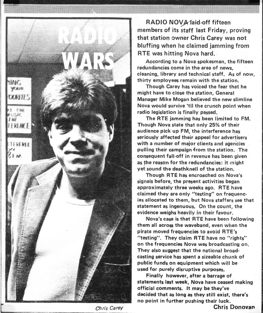 Radio Wars was the title of an article in The Hot Press magazine dated February 10th 1984