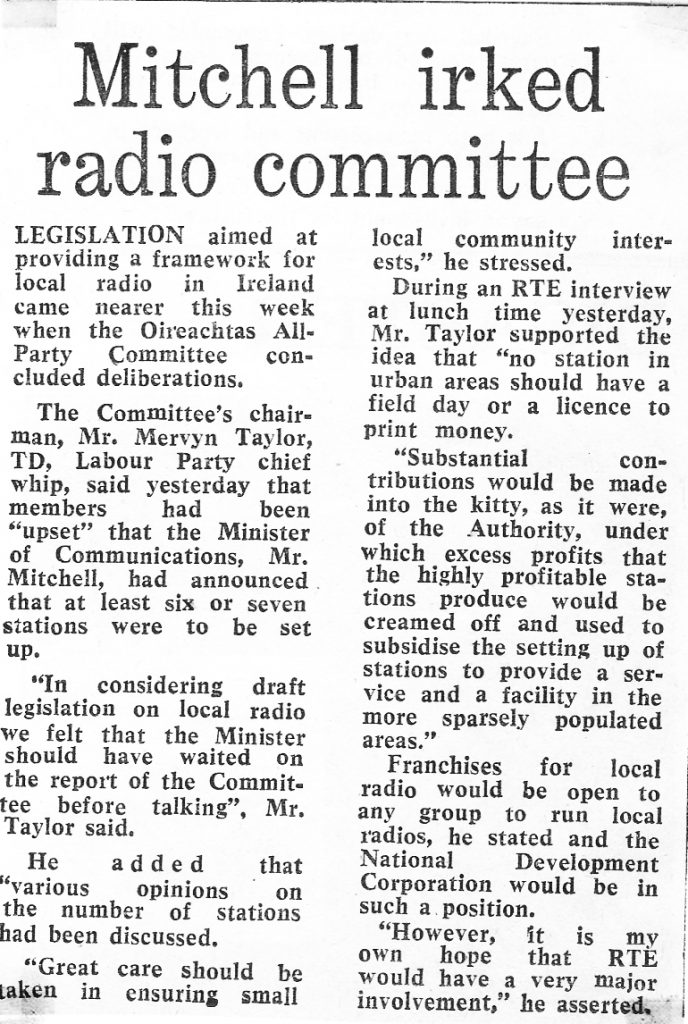 Mitchell irked radio committee was a newspaper headline from The Irish Independent dated February 16th 1984