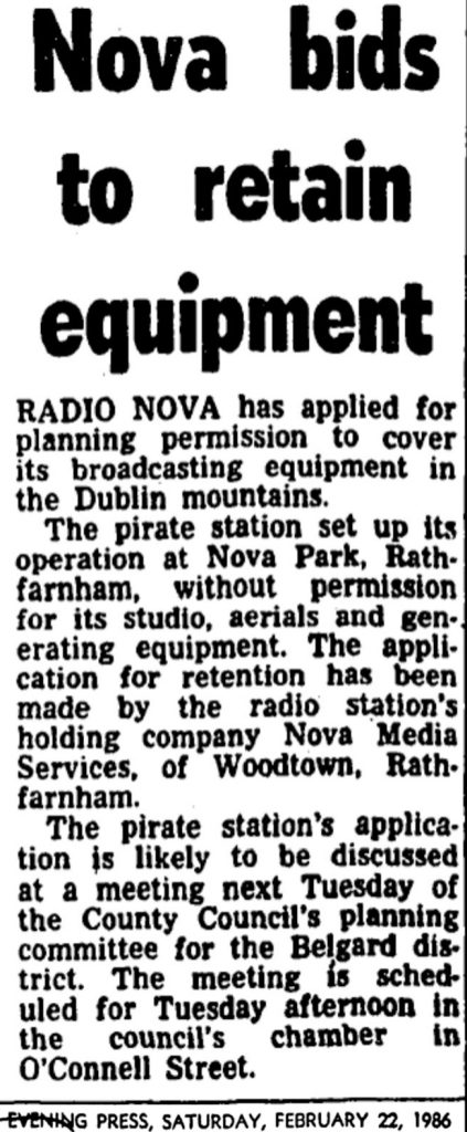 Nova bids to retain equipment was a newspaper headline from The Evening Press dated February 22nd 1986