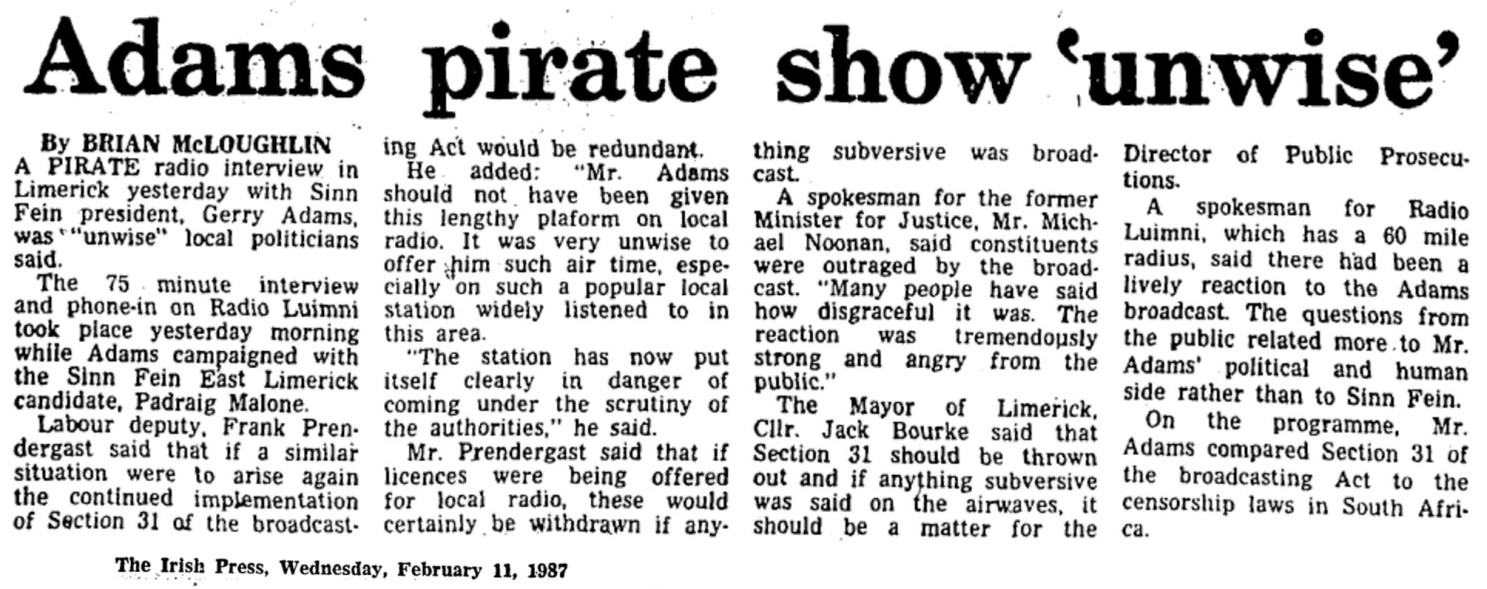 Adams pirate show 'unwise' was a newspaper headline from The Irish Press dated February 11th 1987