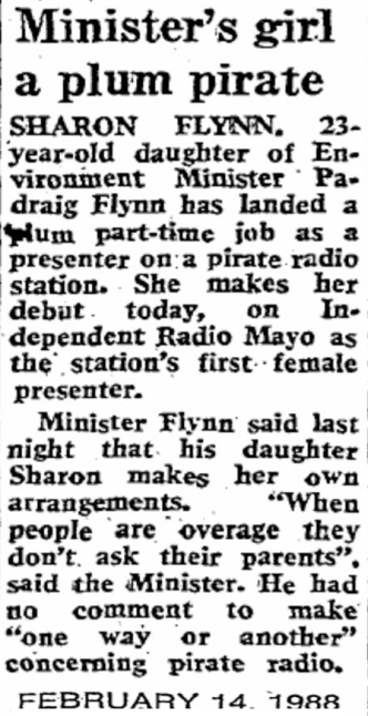 Minister's girl a plum pirate was a newspaper headline from The Sunday Independent dated February 14th 1988