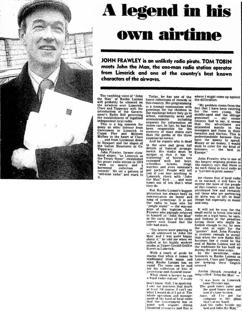 A legend in his own airtime was a newspaper headline from The Irish Press dated February 15th 1988