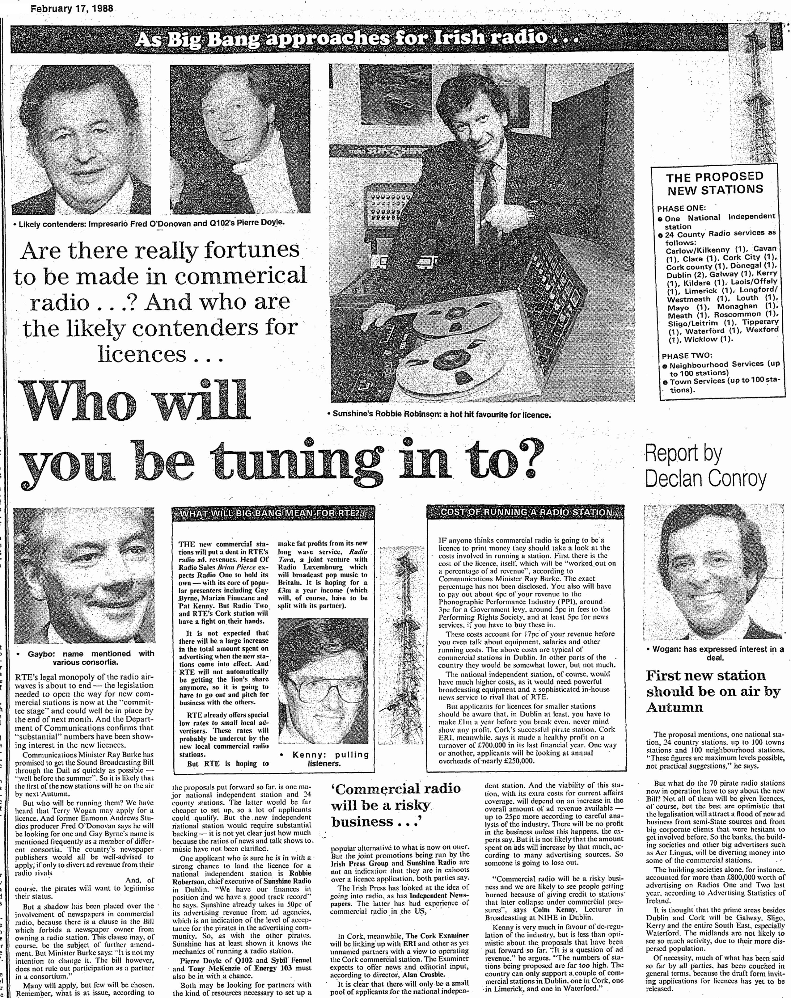 Who will you be tuning in to? was a newspaper headline from The Irish Independent dated February 17th 1988