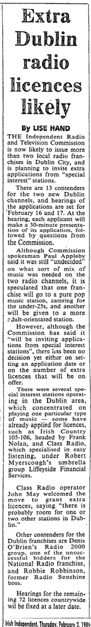 Extra Dublin radio licences likely