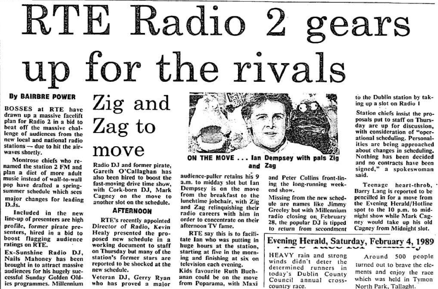 RTÉ Radio 2 gears up for the rivals was a headline from The Evening Herald dated February 4th 1989.
