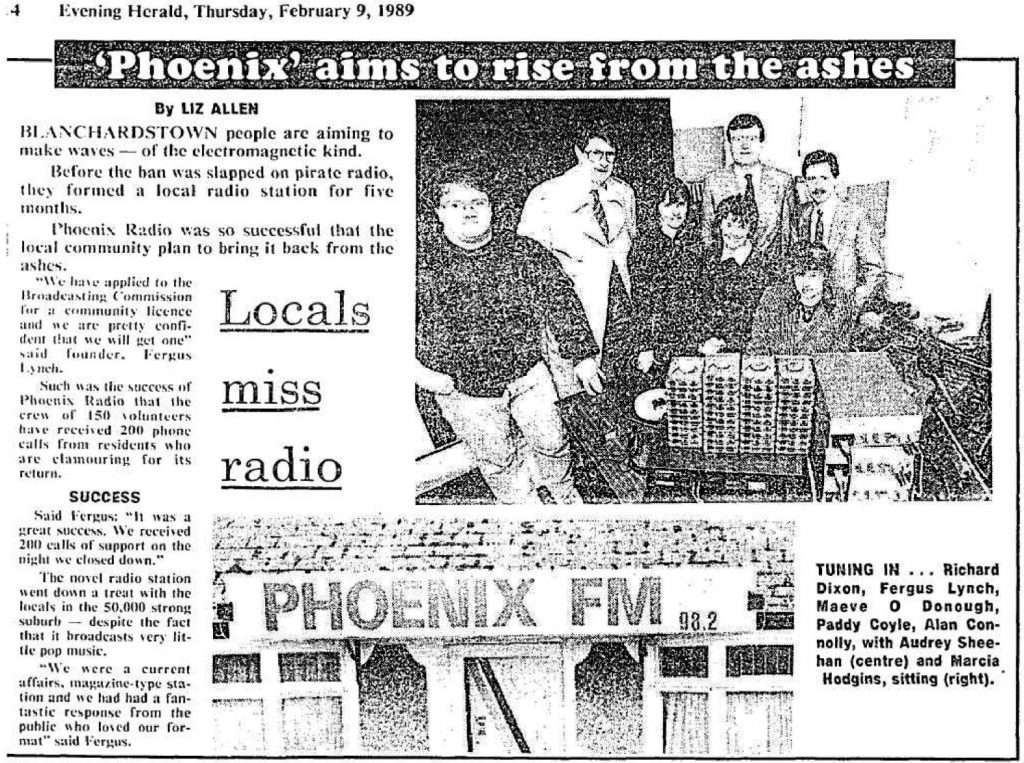 Phoenix aims to rise from the ashes was a headline from The Evening Herald dated February 9th 1989.
