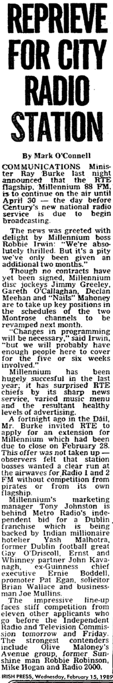 Reprieve for city radio station was a headline from The Irish Press dated February 15th 1989.