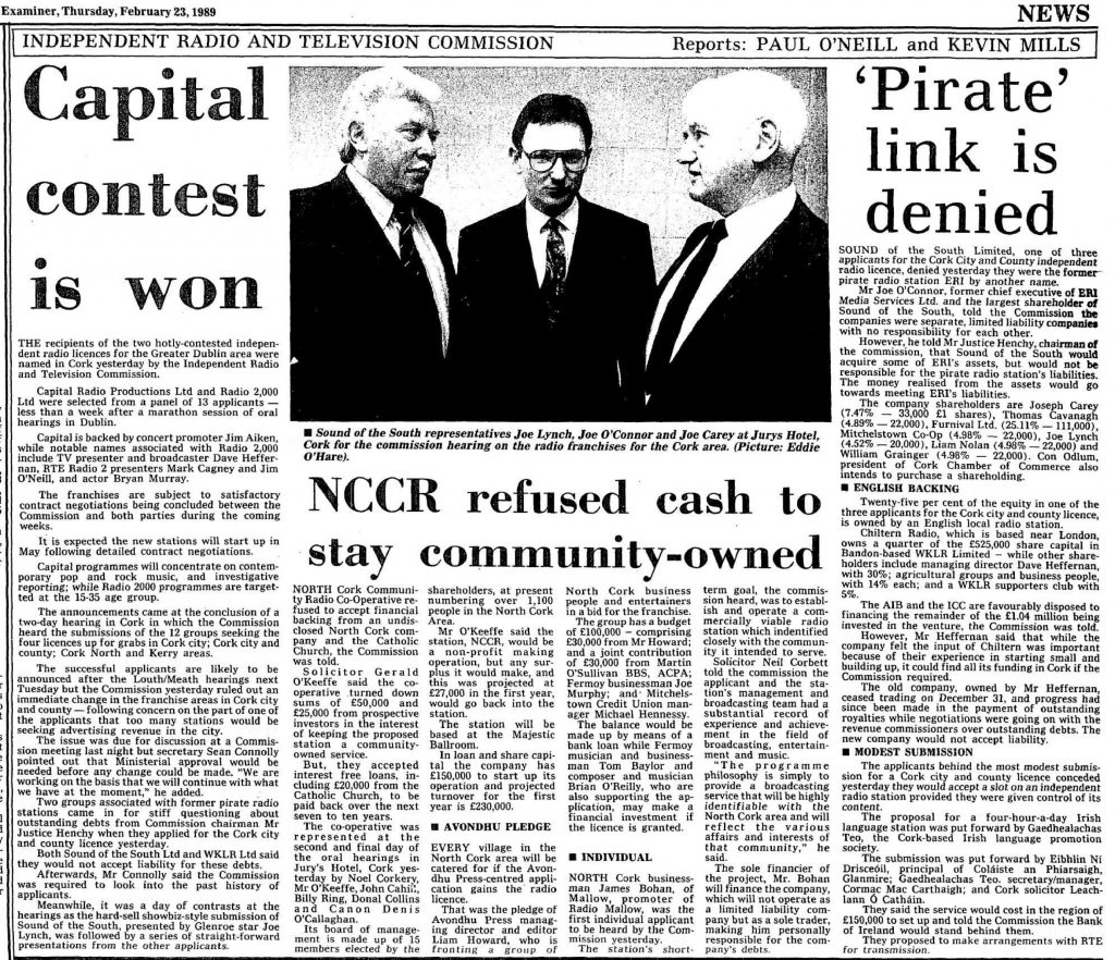Independent Radio and Television Commission was a headline from The Cork Examiner dated February 23rd 1989.