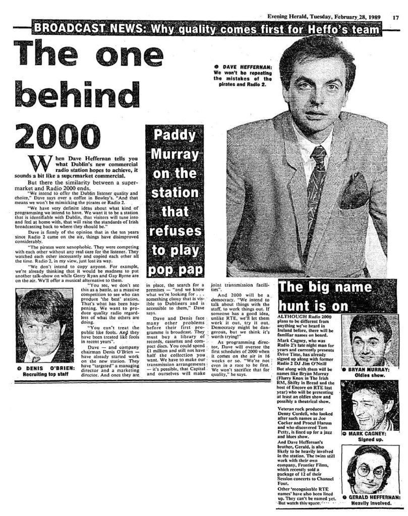 Paddy Murray on the station that refuses to play pop pap was a headline from The Evening Herald dated February 28th 1989.