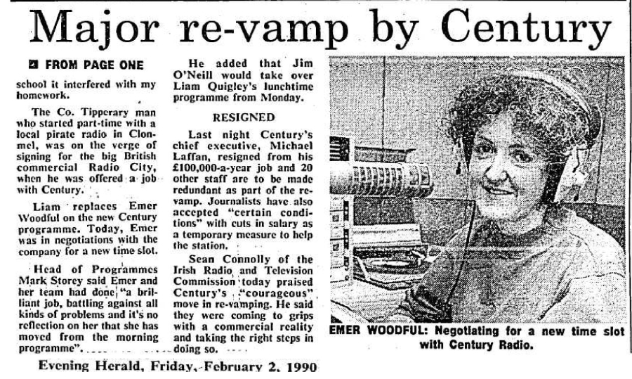 Major re-vamp by Century was a headline from The Evening Herald dated February 2nd 1990.