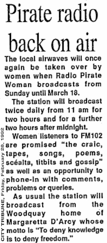 Pirate radio back on air is a headline from The City Tribune from February 28th 1992.