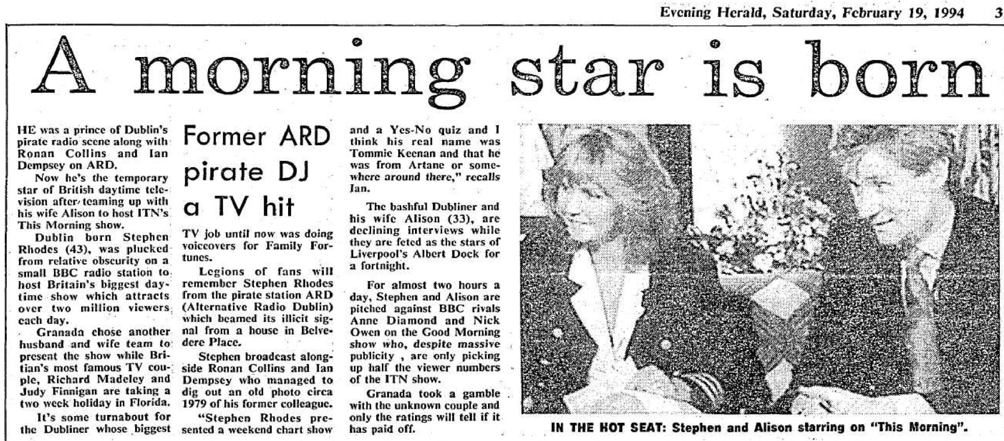 A morning star is born was a headline from The Evening Herald dated February 19th 1994