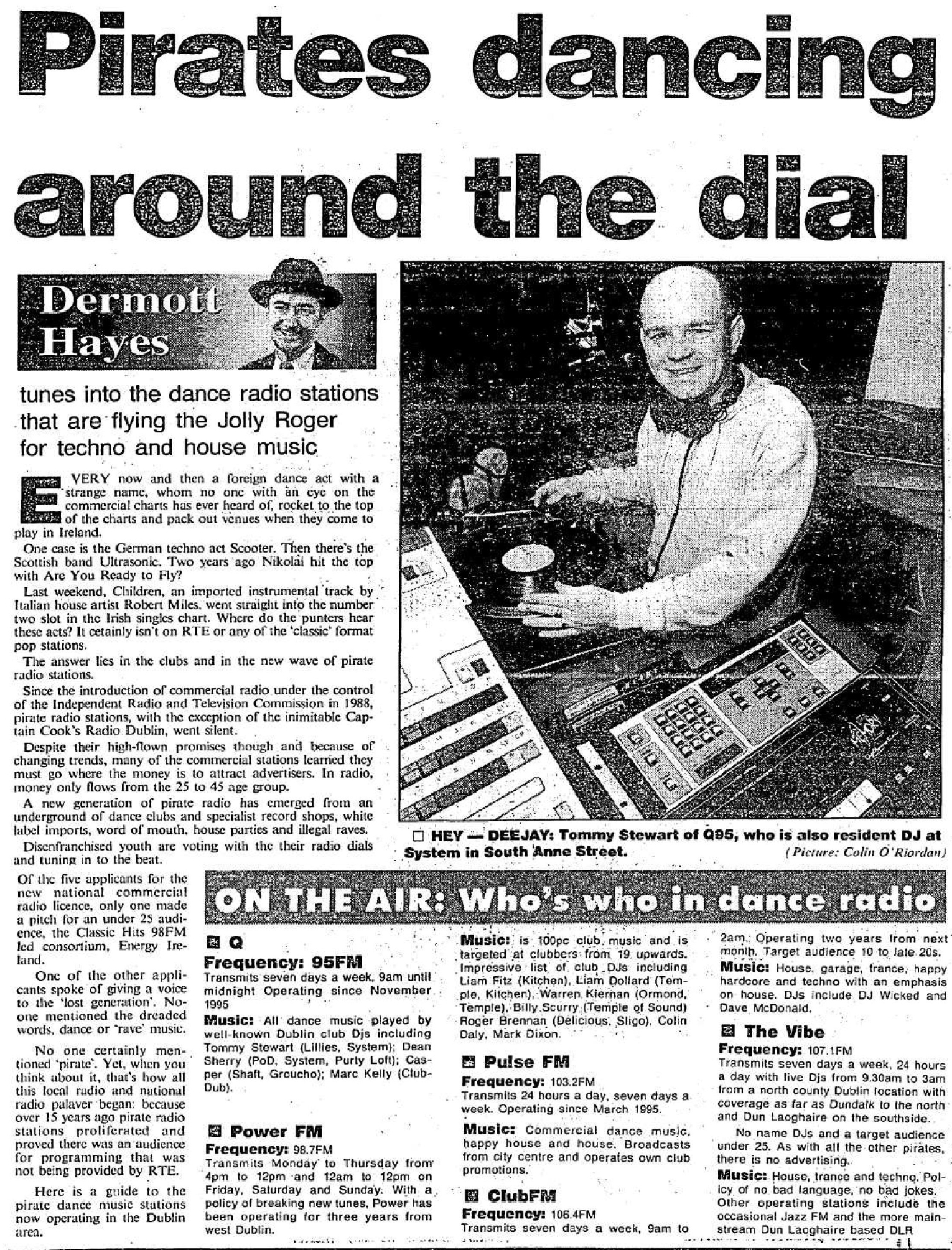 Pirates dancing around the dial was a headline from The Evening Herald dated February 24th 1996