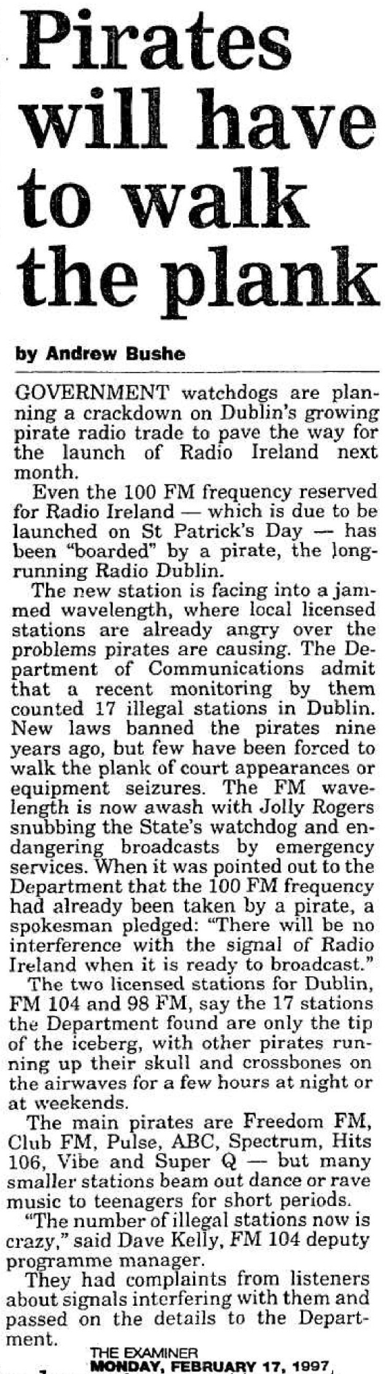 Pirates will have to walk the plank was a headline from The Cork Examiner dated February 17th 1997