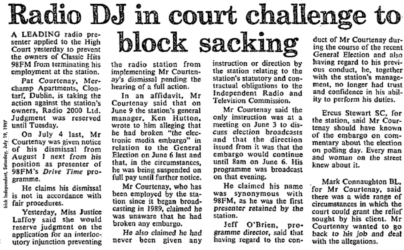Timeline: Radio DJ in court challenge to block sacking was a headline in the Irish Independent dated July 19th 1987