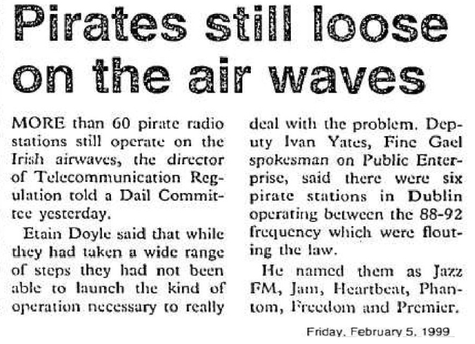 Pirates still loose on the airwaves was a headline from The Evening Herald dated February 5th 1999.