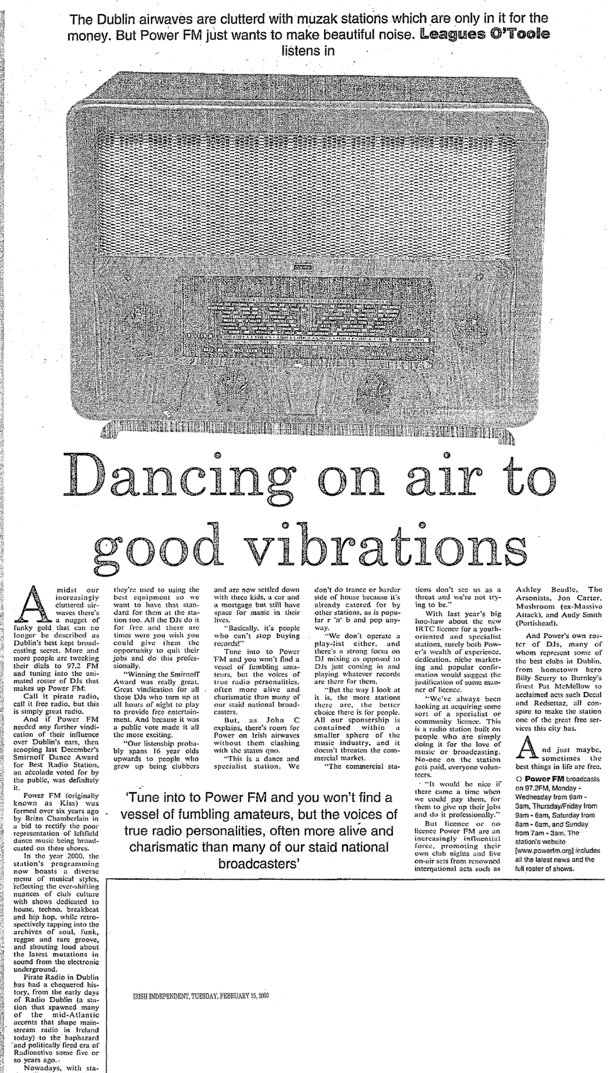 Power FM Dublin - Dancing on air to good vibrations