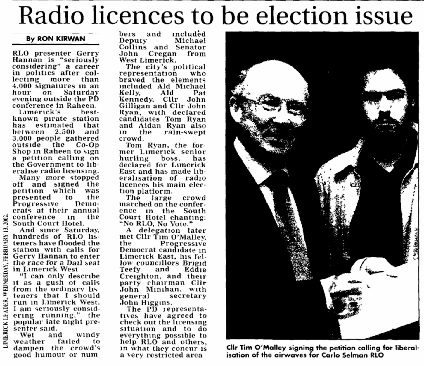 Limerick Leader - Radio licences to be election issue