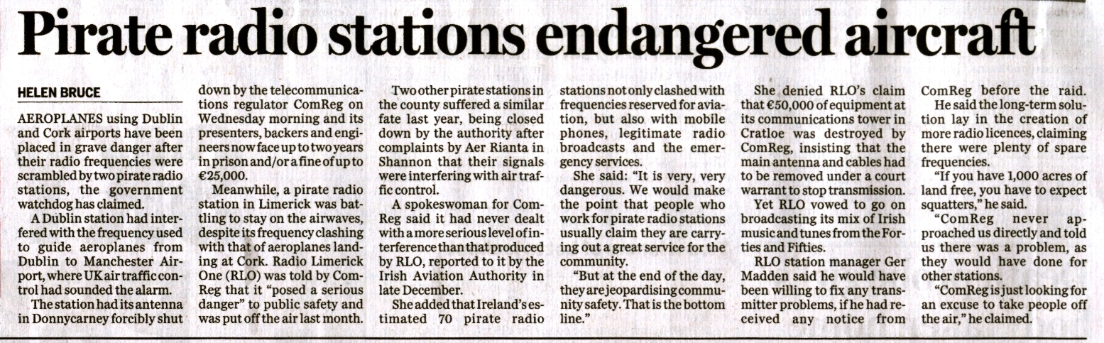 Sunday Independent - Pirate radio stations endangered aircraft