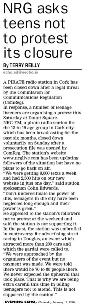 Evening Echo - NRG asks teens not to protest its closure