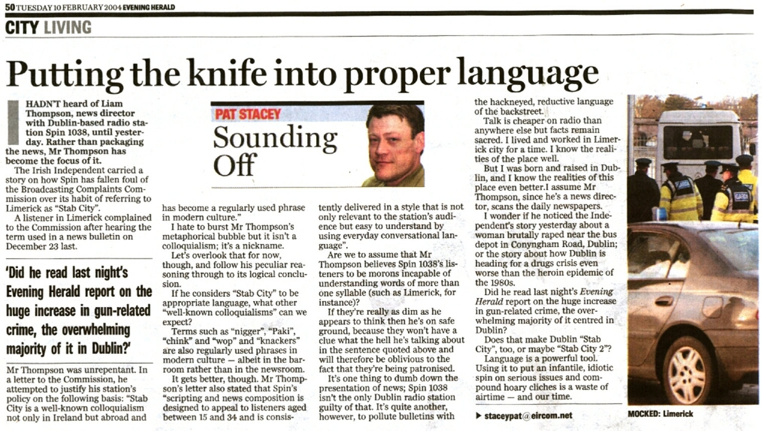 Evening Herald - Putting the knife into proper language