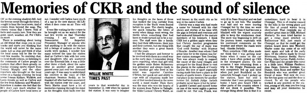 Carlow Nationalist - Memories of CKR and the sound of silence