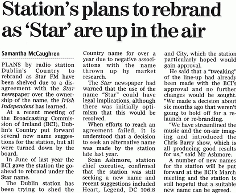 Irish Independent Station's plans to rebrand as 'Star' are up in the air