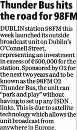 Sunday Business Post Thunder Bus hits the road for 98FM