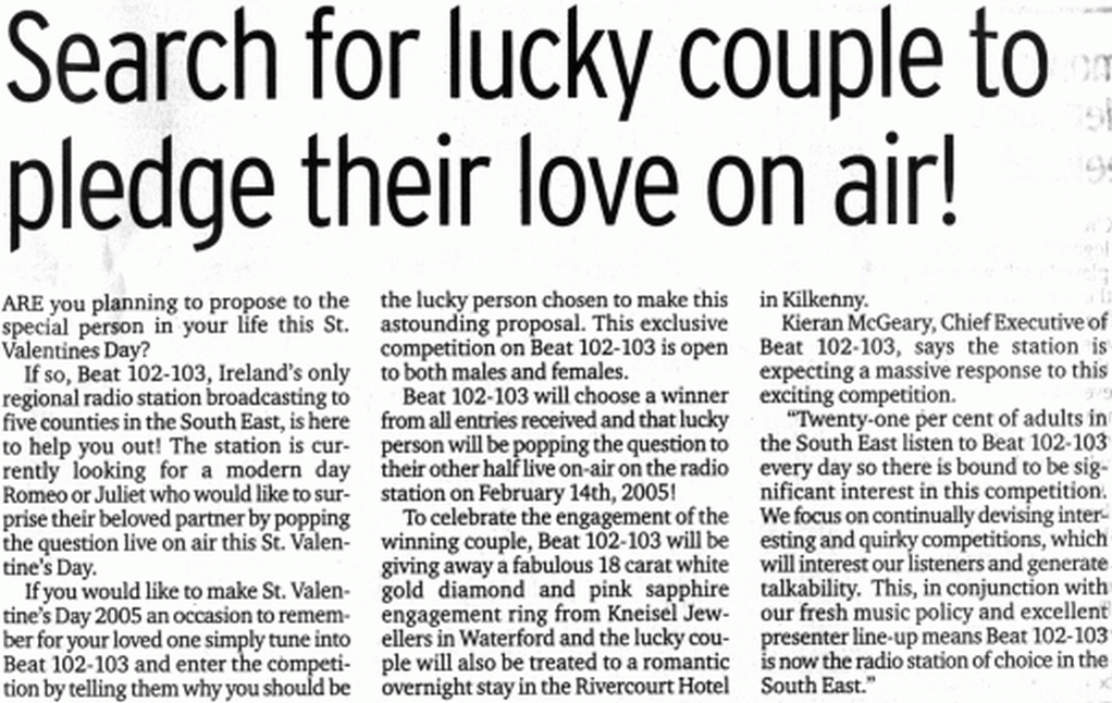 Waterford News & Star Search for lucky couple to pledge their love on air!