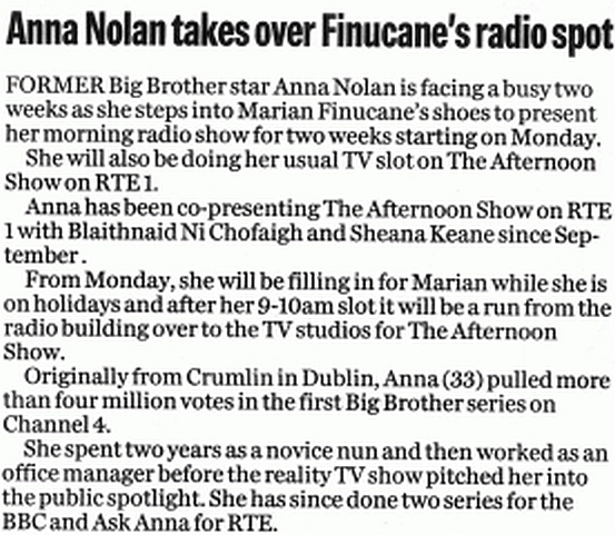Evening Herald Anna Nolan takes over Finucane's radio spot