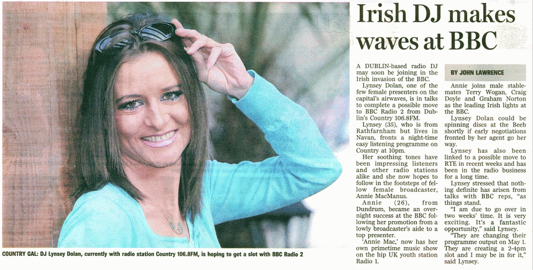 Evening Herald - Irish DJ makes waves at the BBC