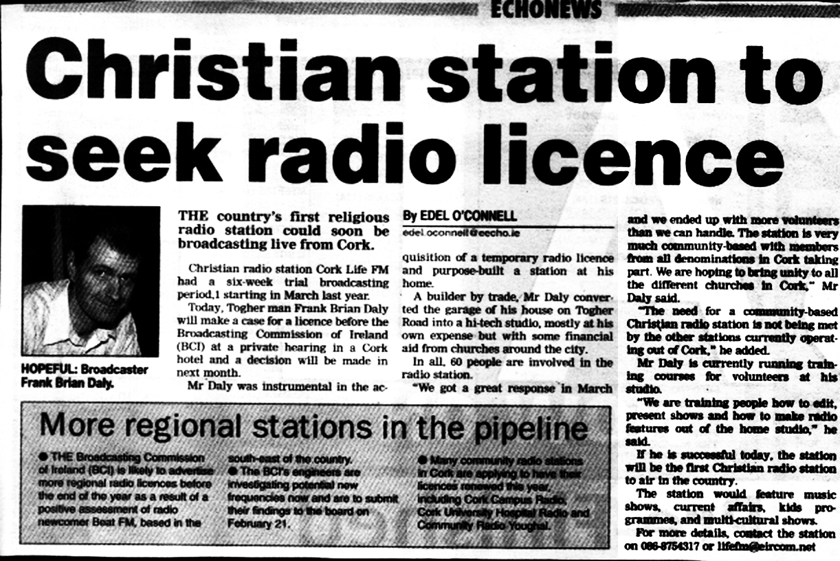 Evening Echo Christian station to seek radio licence