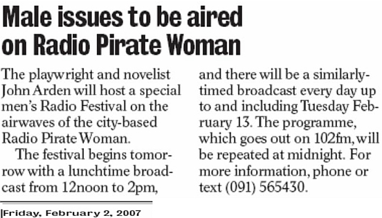City Tribune Male issues to be aired on Radio Pirate Woman